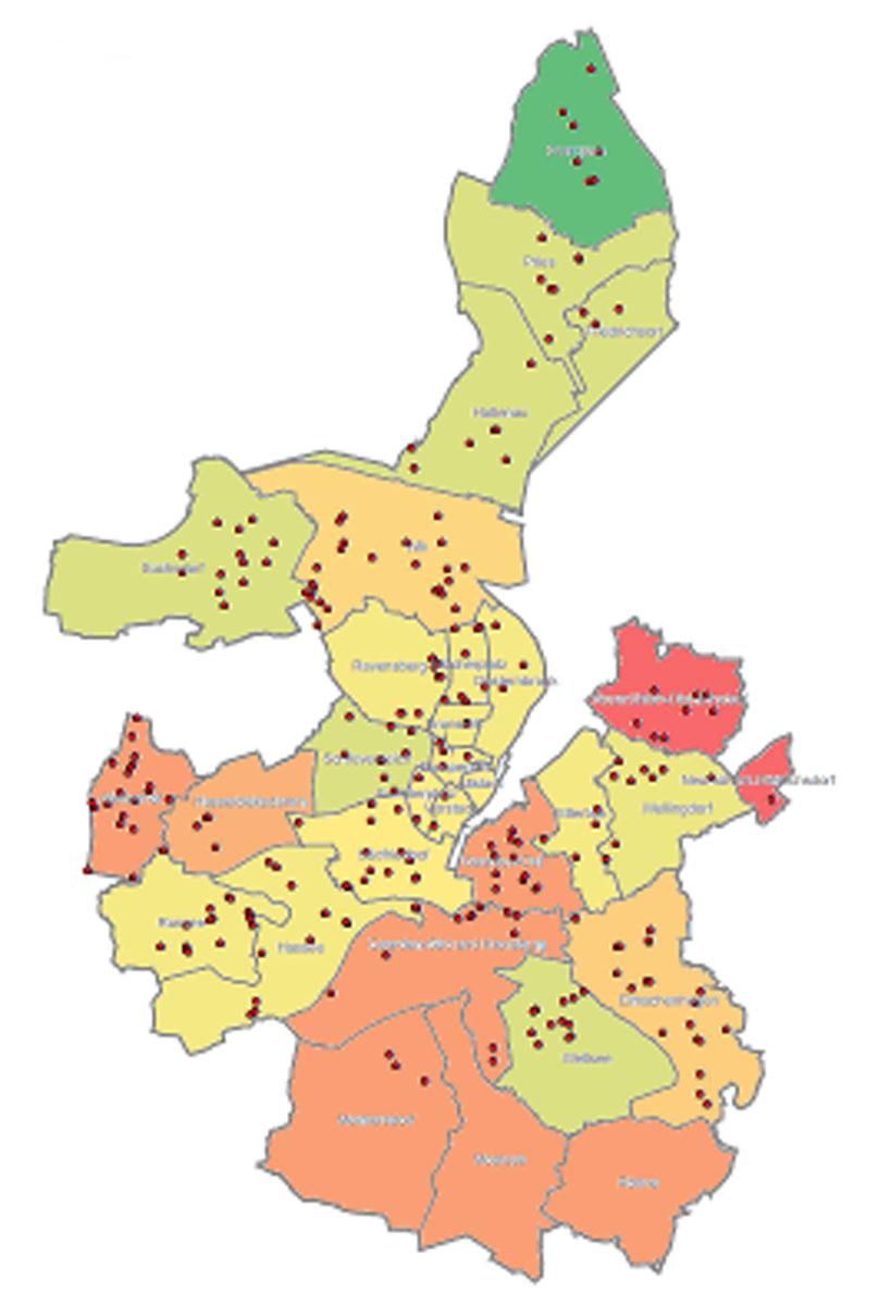 Verteilung der städtischen Spielplätze in den Kieler Stadtteilen.